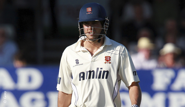Alastair Cook walks off after being dismissed for Essex
