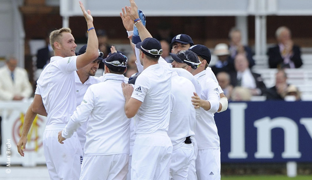 Stuart Broad celebrates a wicket on day five
