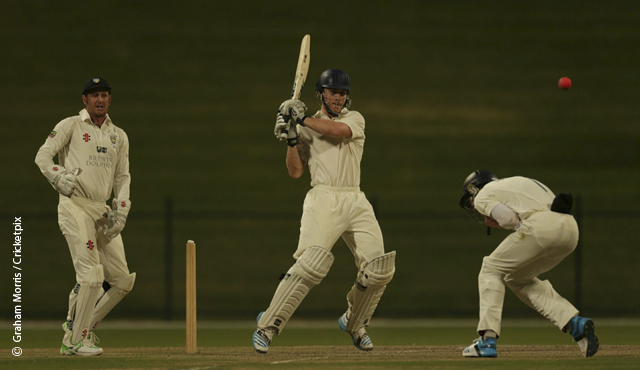 Luis Reece hits out on his way to 85 for MCC