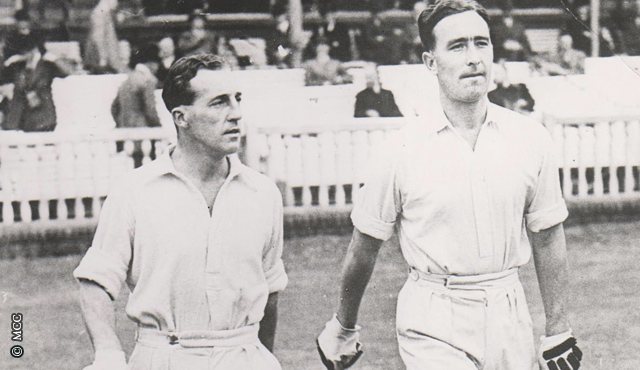 Edrich (left) and Compton make their way out to bat in 1947