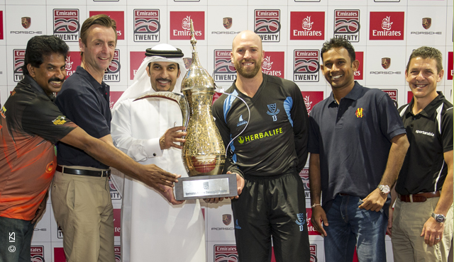 Matt Prior and Prasanna Jayawardene pose with the Emirates T20 trophy at a press conference