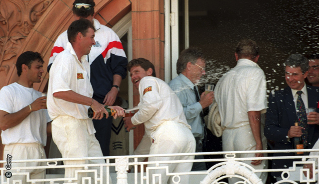 Angus Fraser celebrates with team-mates after their 1995 victory over West Indies at Lord's