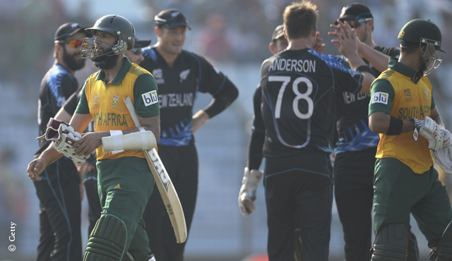 Hashim Amla walks off after being dismissed in South Africa's ICC World T20 Super 10 match against New Zealand