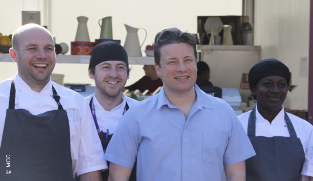 Jamie Oliver visits his food village