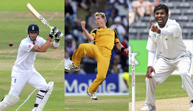 Kevin Pietersen, Brett Lee and Muttiah Muralitharan