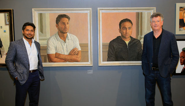 Sangakkara and artist Antony Williams