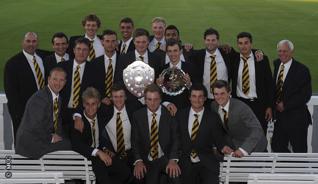 Leeds/Bradford show-off their silverware at Lord's following the MCCU Challenge Final.