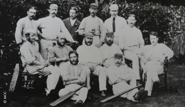 James Lillywhite (middle row, centre) with the first England Test side