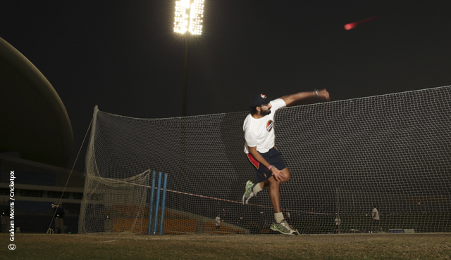 Monty Panesar bowls with the pink ball in the nets