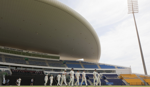 MCC take to the field in the Champion County fixture in Abu Dhabi last year