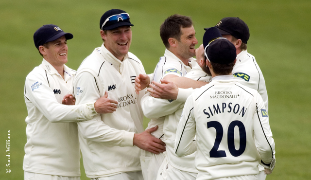Middlesex players celebrating a wicket