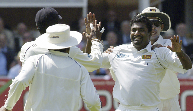 Muttiah Muralitharan celebrates a wicket for Sri Lanka at Lord's