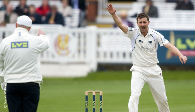 Middlesex bowler Tim Murtagh successfully appeals for a wicket