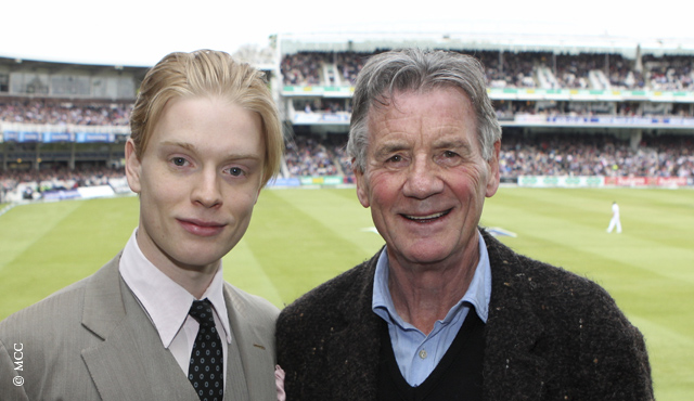 Freddie Fox (left) and Michael Palin popped in to say hello