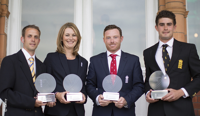 Stephen George, Charlotte Edwards, Ian Bell and Will Rhodes pose with their awards