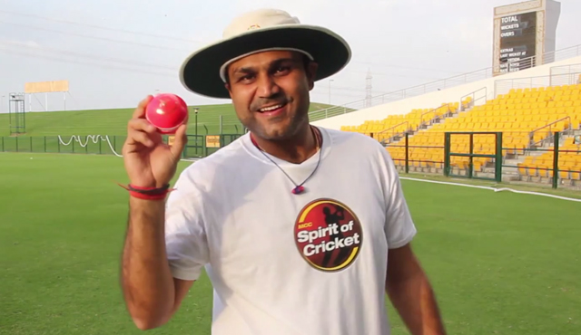 India batsman and MCC captain Virender Sehwag with a pink ball