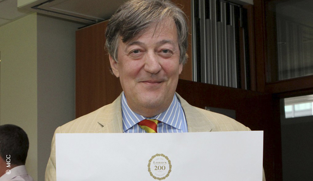 Stephen Fry will ring the bell before the start of play