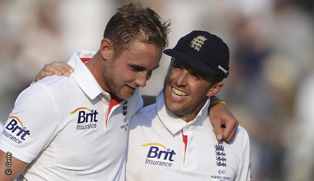 Broad and Swann at Lord's after beating Australia in the second Investec Test match