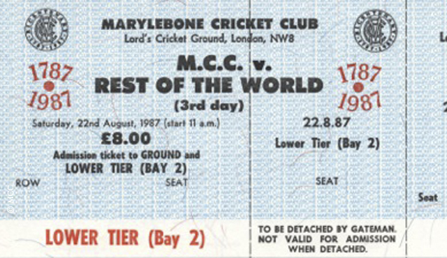 A ticket from the 1987 MCC v Rest of the World five day match