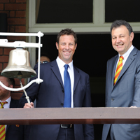 Marcus Trescothick rings the Lord's bell