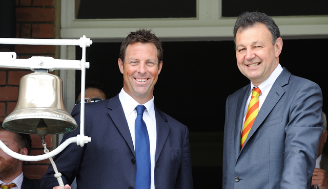 Marcus Trescothick rings the bell at Lord's