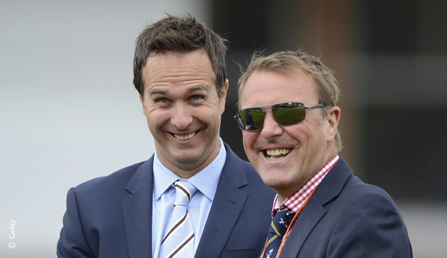Phil Tufnell alongside fellow TMS commentator Michael Vaughan
